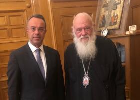 Συνάντηση Σταϊκούρα με τον Αρχιεπίσκοπο Ιερώνυμο - Κεντρική Εικόνα