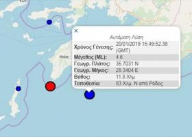Διαδοχικοί σεισμοί 4,6 και 4,5 ρίχτερ νότια της Ρόδου - Κεντρική Εικόνα