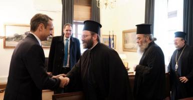 Με αντιπροσωπεία του Οικoυμενικού Πατριαρχείου συναντήθηκε ο Κ. Μητσοτάκης - Κεντρική Εικόνα