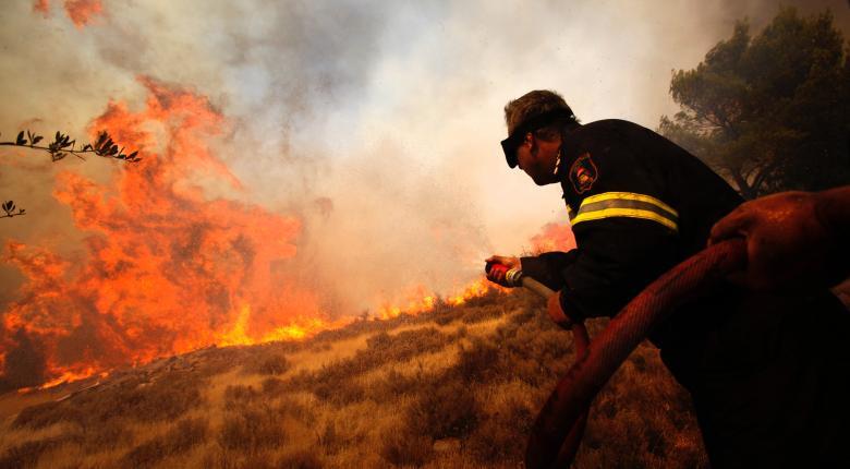 Ισχυρές δυνάμεις της Πυροσβεστικής προσπαθούν να  θέσουν την πυρκαγιά στην Τανάγρα υπό έλεγχο - Κεντρική Εικόνα
