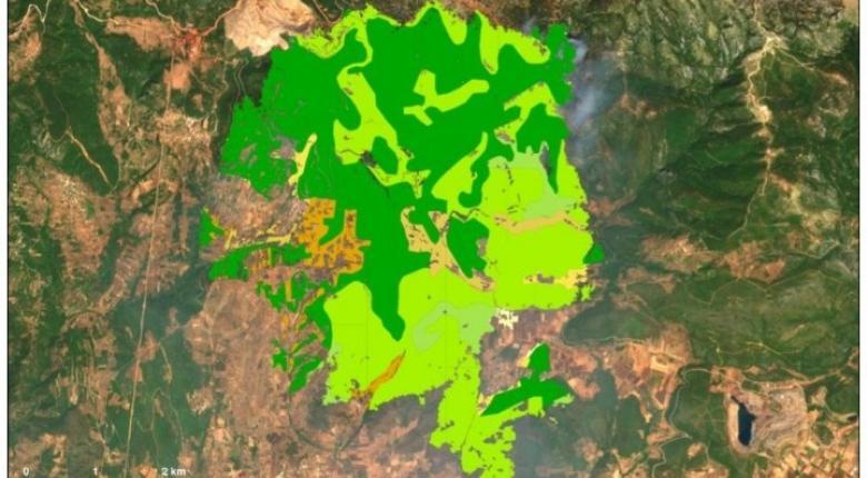 Χαρτογράφηση της γης που κάηκε στην μεγάλη πυρκαγιά της Εύβοιας - Κεντρική Εικόνα